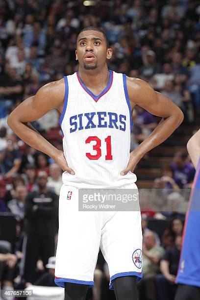 Hollis Thompson of the Philadelphia 76ers looks on during the game against the Sacramento Kings on March 24 2015 at Sleep Train Arena in Sacramento...