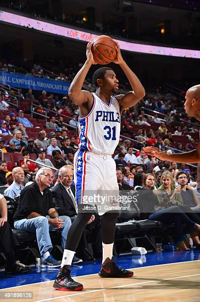Hollis Thompson of the Philadelphia 76ers looks to pass the ball against the Cleveland Cavaliers during a preseason game at the Wells Fargo Center on...