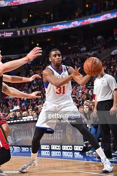 Hollis Thompson of the Philadelphia 76ers passes the ball against the Miami Heat at Wells Fargo Center on April 15 2015 in Philadelphia Pennsylvania...