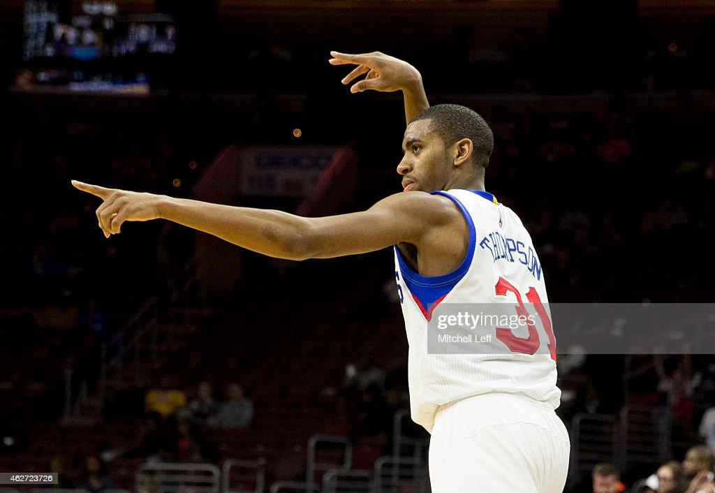 <a gi-track='captionPersonalityLinkClicked' href=/galleries/search?phrase=Hollis+Thompson&family=editorial&specificpeople=6586021 ng-click='$event.stopPropagation()'>Hollis Thompson</a> #31 of the Philadelphia 76ers reacts after making a three point basket against the Denver Nuggets on February 3, 2015 at the Wells Fargo Center in Philadelphia, Pennsylvania.
