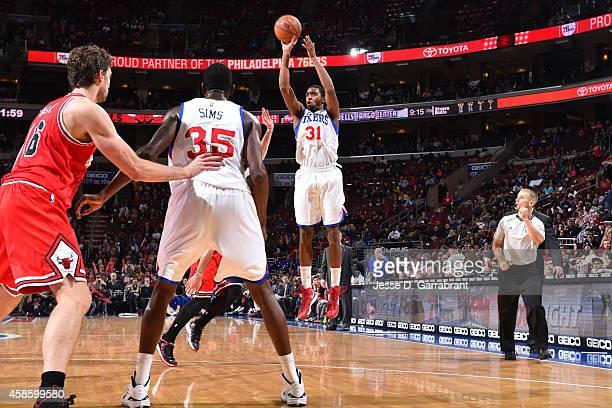 Hollis Thompson of the Philadelphia 76ers shoots against the Chicago Bulls on November 7 2014 at the Wells Fargo Center in Philadelphia Pennsylvania...