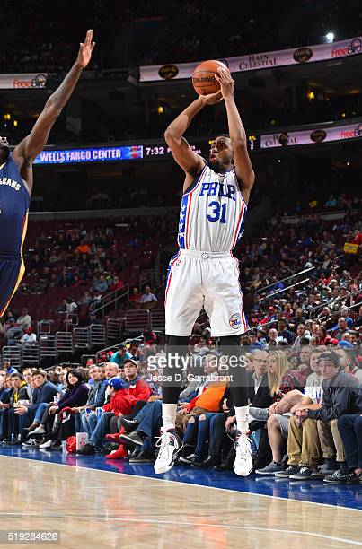 Hollis Thompson of the Philadelphia 76ers shoots the ball against New Orleans Pelicans the at Wells Fargo Center on April 5 2016 in Philadelphia...