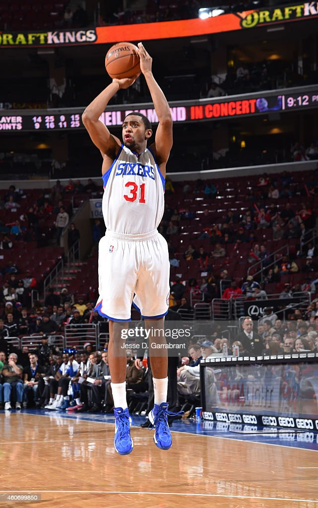 <a gi-track='captionPersonalityLinkClicked' href=/galleries/search?phrase=Hollis+Thompson&family=editorial&specificpeople=6586021 ng-click='$event.stopPropagation()'>Hollis Thompson</a> #31 of the Philadelphia 76ers shoots the ball against the Charlotte Hornets on December 19, 2014 at Wells Fargo Center in Philadelphia, PA.