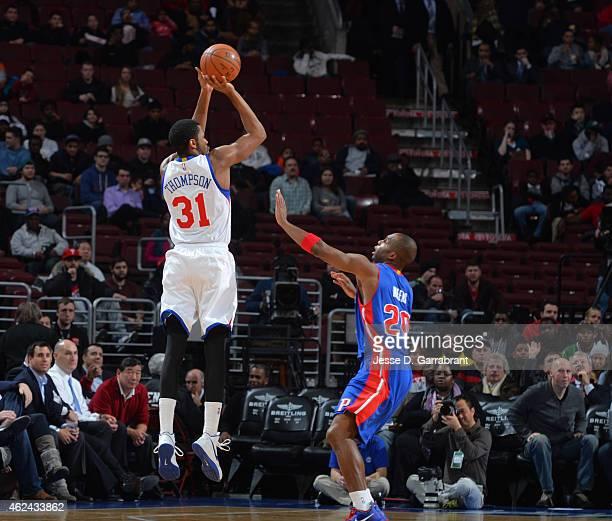 Hollis Thompson of the Philadelphia 76ers shoots the ball against the Detroit Pistons at Wells Fargo Center on January 28 2015 in Philadelphia...