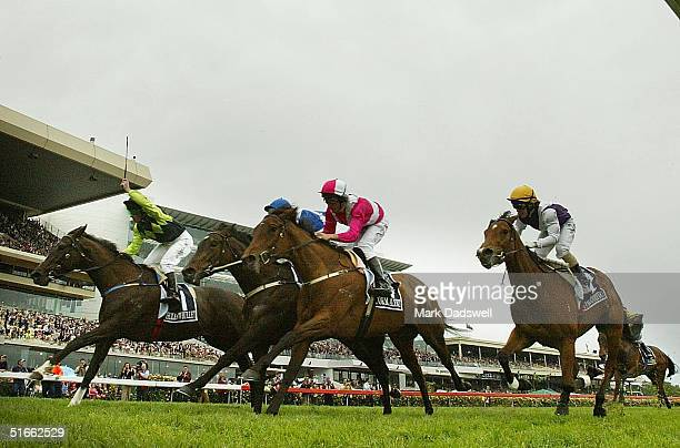 Hollow Bullet ridden by David Taggart wins the Crown Oaks during Crown Oaks Day at Flemington Racecourse November 4 2004 in Melbourne Australia...