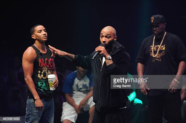 Hollow Da Don and Joe Budden compete at Total Slaughter hosted by Shady Films and WatchLOUDcom at Hammerstein Ballroom on July 12 2014 in New York...
