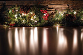 Holly and garland lights. Provost, Alberta, Canada.