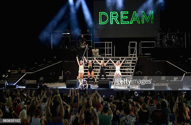 Holly BlakeArnstein Ashley Poole Melissa Schuman and Diana Ortiz of Dream perform live in concert at Portsmouth Pavilion on July 26 2016 in...
