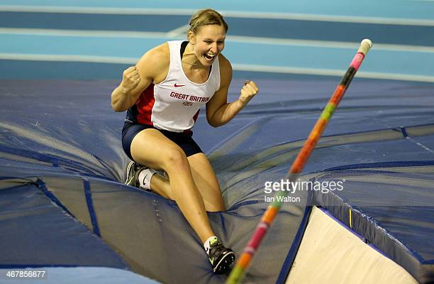 Holly Bleasdale of Blackburn in action in the women's Pole Vault Final Final at the Sainsbury's British Athletics Indoor Championships on February 8...