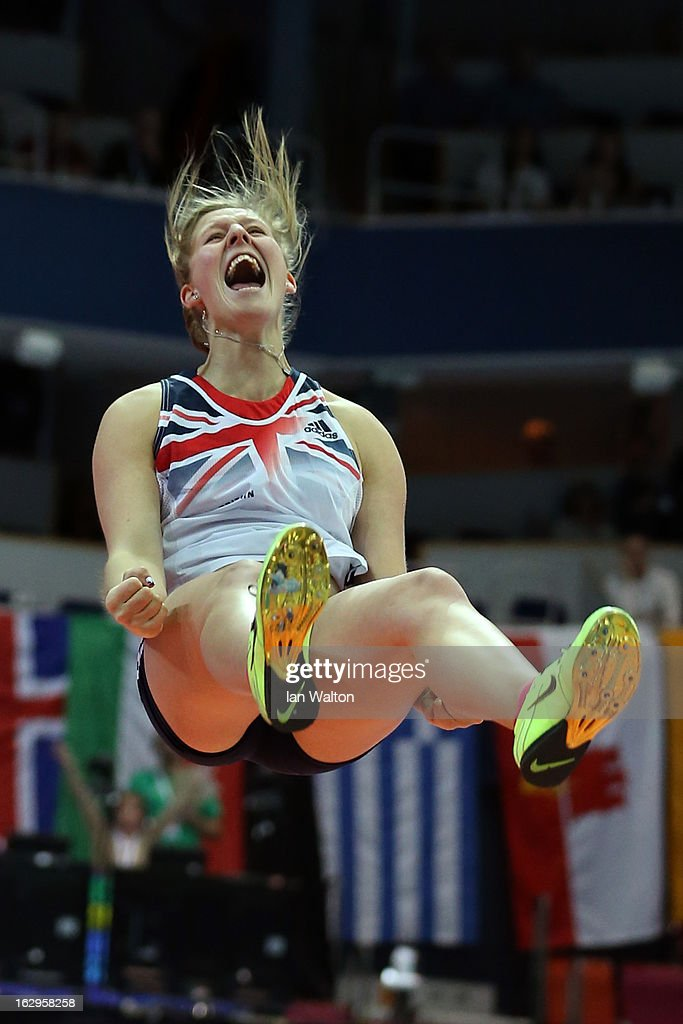Holly Bleasdale of Great Britain and Northern Ireland celebrates winning gold as she clears her final jump in the Women's Pole Vault Final during day two of the European Athletics Indoor Championships at Scandinavium on March 2, 2013 in Gothenburg, Sweden.