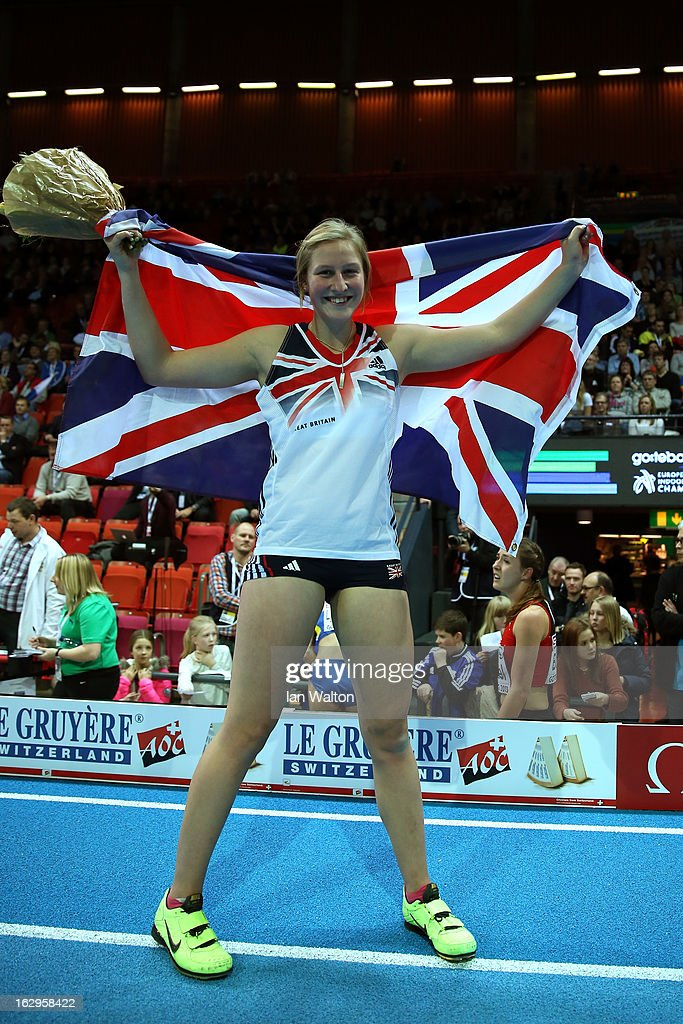 <a gi-track='captionPersonalityLinkClicked' href=/galleries/search?phrase=Holly+Bleasdale&family=editorial&specificpeople=5910118 ng-click='$event.stopPropagation()'>Holly Bleasdale</a> of Great Britain and Northern Ireland celebrates winning gold in the Women's Pole Vault Finalduring day two of the European Athletics Indoor Championships at Scandinavium on March 2, 2013 in Gothenburg, Sweden.