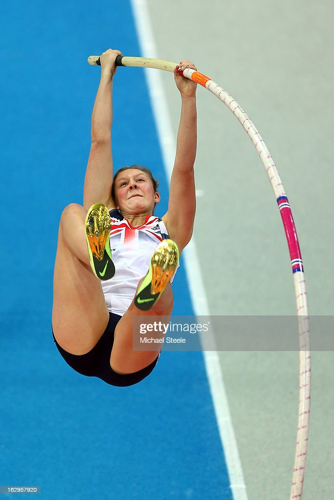 <a gi-track='captionPersonalityLinkClicked' href=/galleries/search?phrase=Holly+Bleasdale&family=editorial&specificpeople=5910118 ng-click='$event.stopPropagation()'>Holly Bleasdale</a> of Great Britain and Northern Ireland competes in the Women's Pole Vault Final during day two of the European Athletics Indoor Championships at Scandinavium on March 2, 2013 in Gothenburg, Sweden.