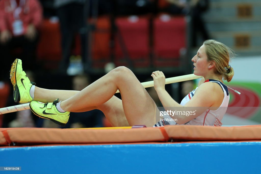 Holly Bleasdale of Great Britain and Northern Ireland lies on the matt after competing in the Women's Pole Vault Qualification during day one of the European Athletics Indoor Championships at Scandinavium on March 1, 2013 in Gothenburg, Sweden.