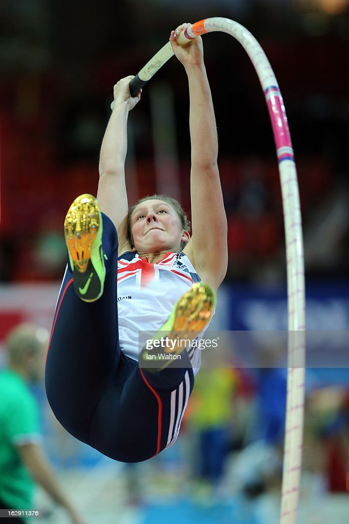 Holly Bleasdale of Great Britain and Northern Ireland warms up the Women's Pole Vault Qualification during day one of the European Athletics Indoor Championships at Scandinavium on March 1, 2013 in Gothenburg, Sweden.
