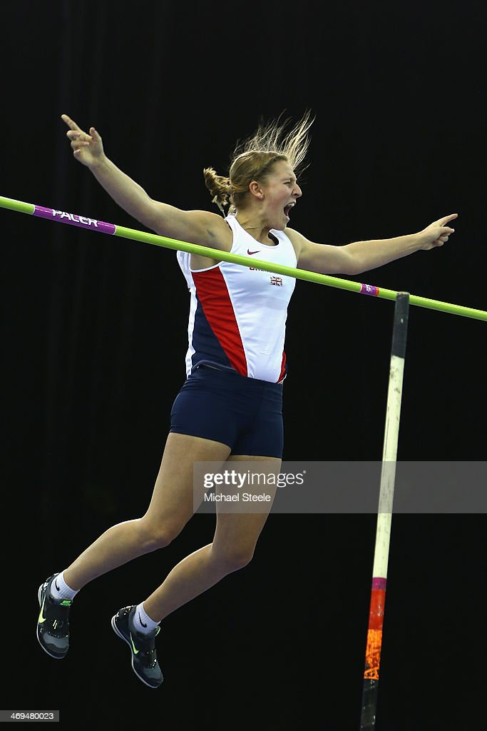 Holly Bleasdale of Great Britain celebrates clearing in the women's pole vault during the Sainsbury's Indoor Grand Prix at the NIA Arena on February 15, 2014 in Birmingham, England.