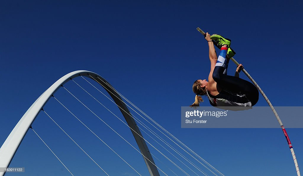 Holly Bleasdale of Great Britain competes in the Womens Pole Vault with the Millennium Bridge in the background during the Great North City Games on September 15, 2012 in Newcastle upon Tyne, England.