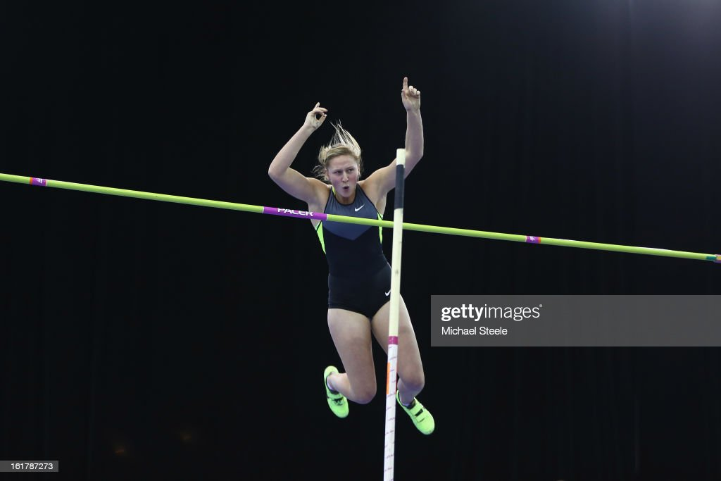 <a gi-track='captionPersonalityLinkClicked' href=/galleries/search?phrase=Holly+Bleasdale&family=editorial&specificpeople=5910118 ng-click='$event.stopPropagation()'>Holly Bleasdale</a> of Great Britain in action during the women's pole vault during the British Athletics Grand Prix at the National Indoor Arena on February 16, 2013 in Birmingham, England.