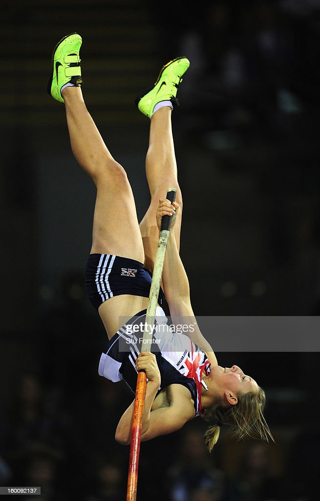 Holly Bleasdale of Great Britain in action on her way to winning the Womens Pole Vault during the British Athletics International Match at the Emirates Arena on January 26, 2013 in Glasgow, Scotland.