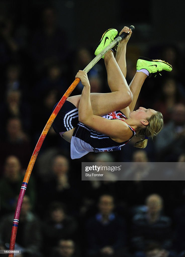 <a gi-track='captionPersonalityLinkClicked' href=/galleries/search?phrase=Holly+Bleasdale&family=editorial&specificpeople=5910118 ng-click='$event.stopPropagation()'>Holly Bleasdale</a> of Great Britain in action on her way to winning the Womens Pole Vault during the British Athletics International Match at the Emirates Arena on January 26, 2013 in Glasgow, Scotland.
