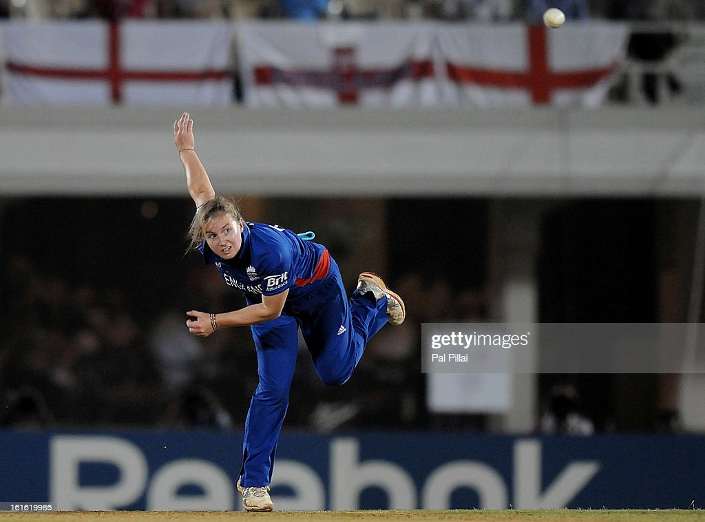 Holly Colvin of England bowls during the Super Sixes match between England and New Zealand held at the Cricket Club of India on February 13, 2013 in Mumbai, India.