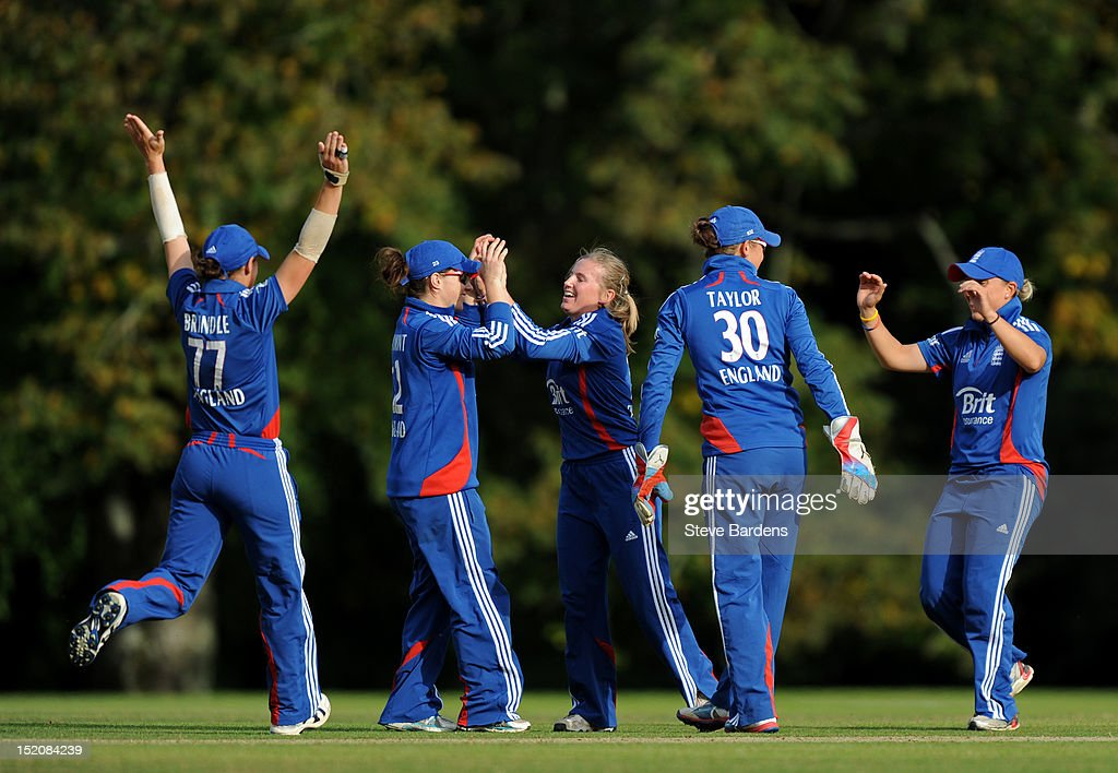Holly Colvin of England celebrates taking the wicket of Deandra Dottin of the West Indies during the NatWest Women's International T20 Series match between England Women and West Indies Women at Arundel on September 16, 2012 in London, England.
