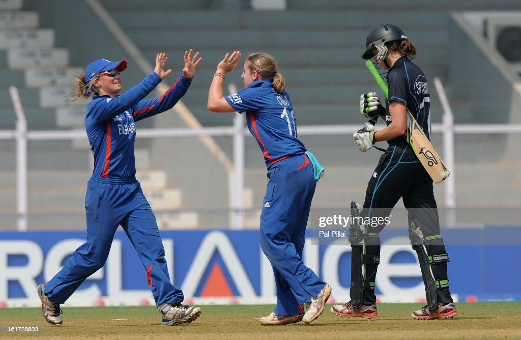Holly Colvin of England celebrates the wicket of Amy Satterthwaite of New Zealand during the 3rd/4th Place Play-Off game between England and New Zealand held at the CCI (Cricket Club of India) ground on February 15, 2013 in Mumbai, India.