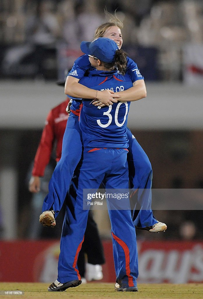Holly Colvin of England celebrates the wicket of Nicola Browne of New Zealand during the Super Sixes match between England and New Zealand held at the Cricket Club of India on February 13, 2013 in Mumbai, India.