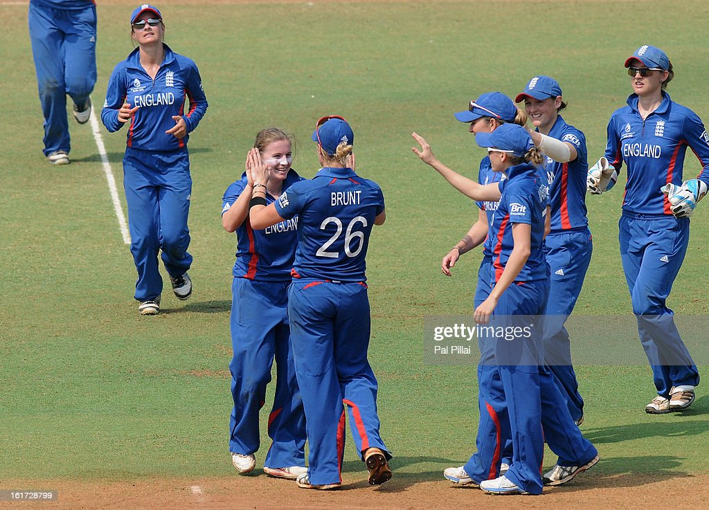 Holly Colvin of England celebrates the wicket of Rachel Priest of New Zealand during the 3rd/4th Place Play-Off game between England and New Zealand held at the CCI (Cricket Club of India) ground on February 15, 2013 in Mumbai, India.