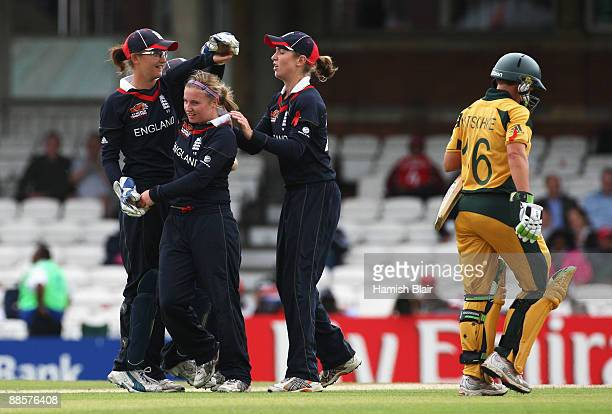 Holly Colvin of England celebrates the wicket of Shelley Nitschke of Australia during the ICC Women's World Twenty20 Semi Final between England and...