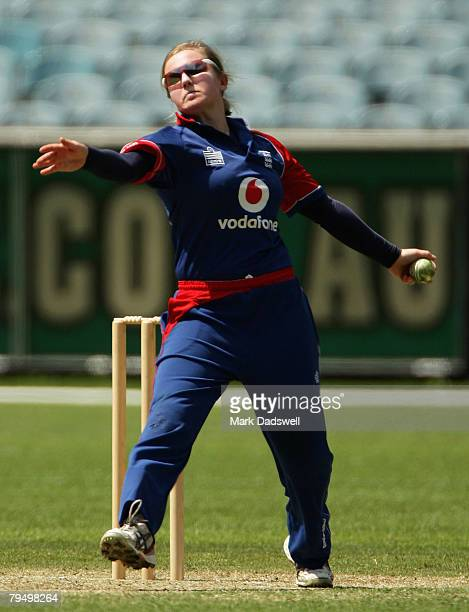 Holly Colvin of England sends down a delivery during the Women's One Day International match between the Australian Southern Stars and England at the...