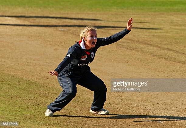 Holly Colvin of England sucessfully appeals as she traps Nain Abidi of Pakistan LBW during the ICC Women's Twenty20 World Cup between England and...