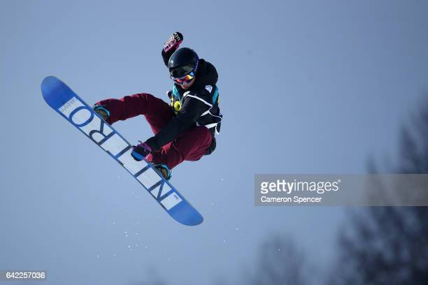 Holly Crawford of Australia competes in the FIS Freestyle World Cup Snowboard Ladies Halfpipe Qualification at Bokwang Snow Park on February 17 2017...