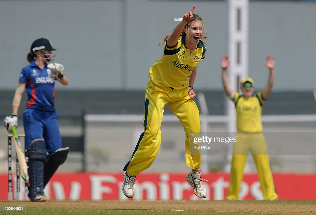 Holly Ferling of Australia appeals unsuccessfully for the wicket of Lydia Greenway of England during the super six match between England and Australia held at the CCI (Cricket Club of India) on February 8, 2013 in Mumbai, India.