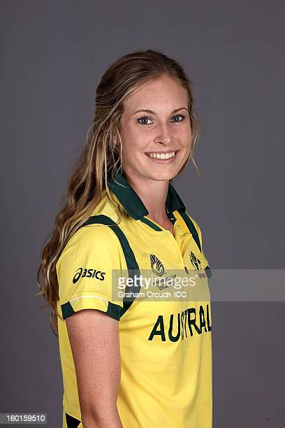 Holly Ferling of Australia attends a portrait session ahead of the ICC Womens World Cup 2013 at the Taj Mahal Palace Hotel on January 27 2013 in...