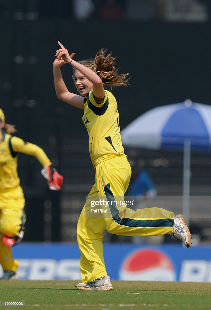 Holly Ferling of Australia celebrates the wicket Jennifer Gunn of England a wicket during the super six match between England and Australia held at the CCI (Cricket Club of India) on February 8, 2013 in Mumbai, India.