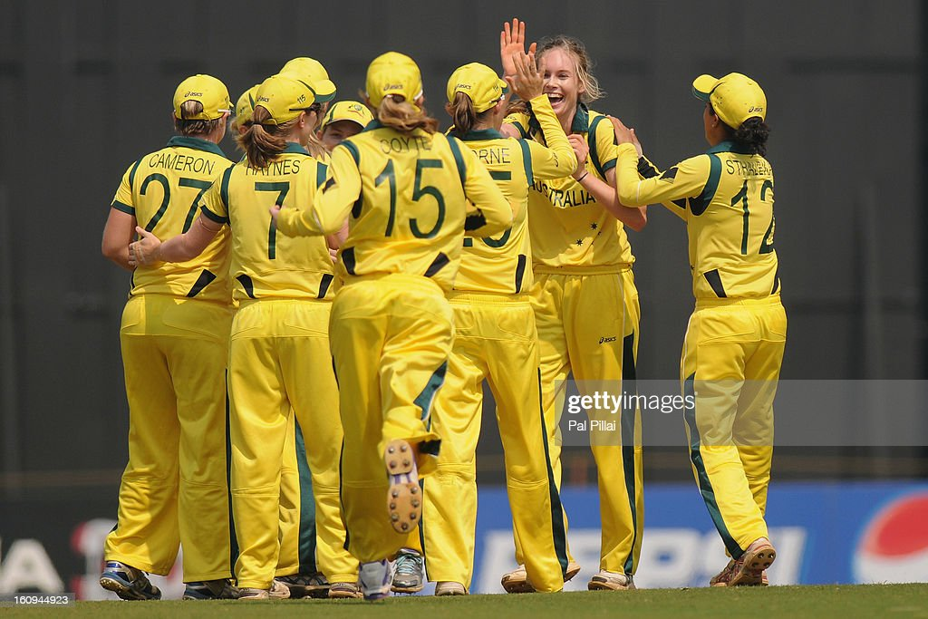 Holly Ferling of Australia celebrates the wicket of Danielle Wyatt of England during the super six match between England and Australia held at the CCI (Cricket Club of India) on February 8, 2013 in Mumbai, India.