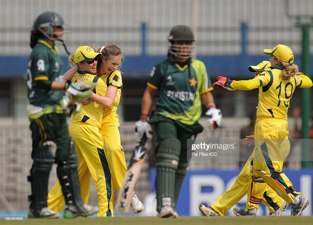 Holly Ferling of Australia celebrates the wicket of Sidra Ameen of Paksitan during the second match of ICC Womens World Cup between Australia and Pakistan, played at the Barabati stadium on February 1, 2013 in Cuttack, India.