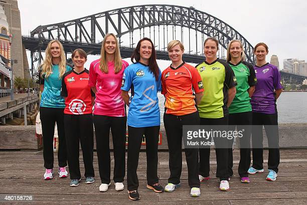 Holly Ferling of the Brisbane Heat Sarah Elliott of the Melbourne Renegades Ellyse Perry of the Sydney Sixers Megan Schutt of the Adelaide Strikers...