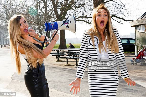 Holly Hagan and Charlotte Crosby attends a photocall to launch series 10 of 'Geordie Shore' at Speaker's Corner on March 11 2015 in London England