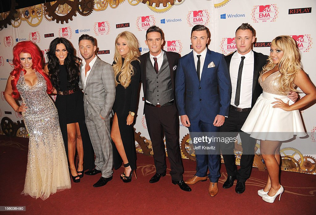 Holly Hagan, Vicky Pattison, Ricci Guarnaccio, Charlotte-Letitia Crosby, Gaz Beadle, James Tindale, Scott Timlin and Sophie Kasaei of Geordie Shore attend the MTV EMA's 2012 at Festhalle Frankfurt on November 11, 2012 in Frankfurt am Main, Germany.