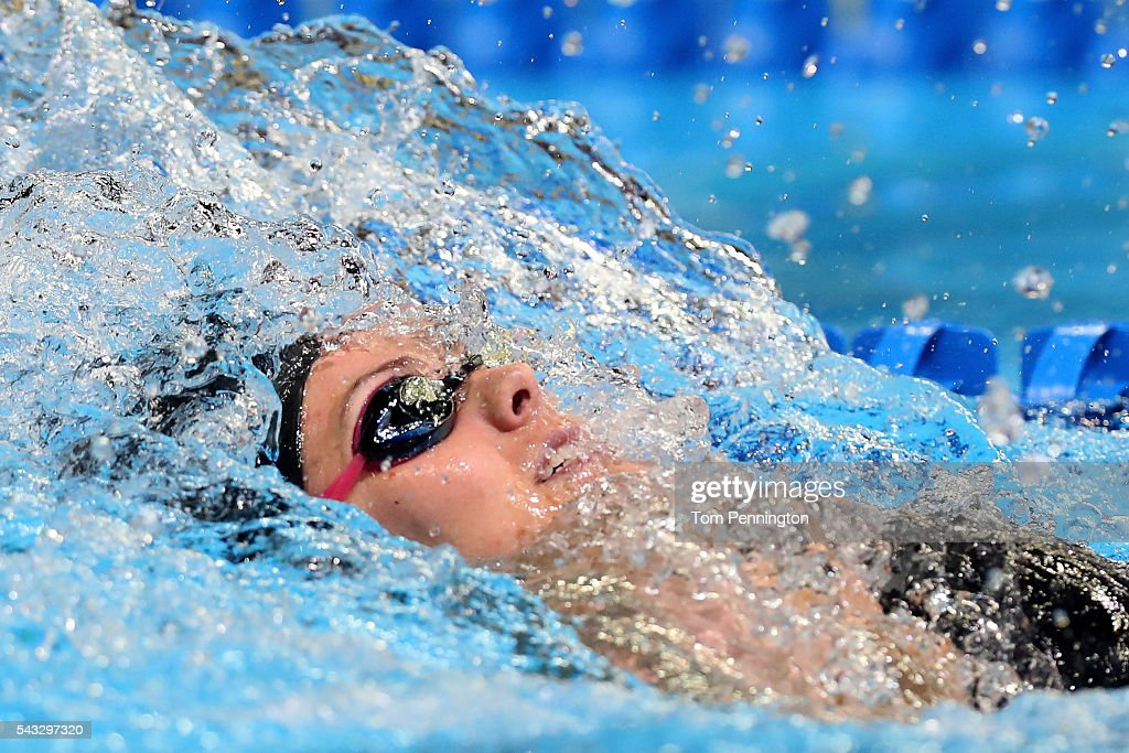 Holly Harper of the United States competes in a preliminary heat for the Women's 100 Meter Backstroke during Day 2 of the 2016 U.S. Olympic Team Swimming Trials at CenturyLink Center on June 27, 2016 in Omaha, Nebraska.