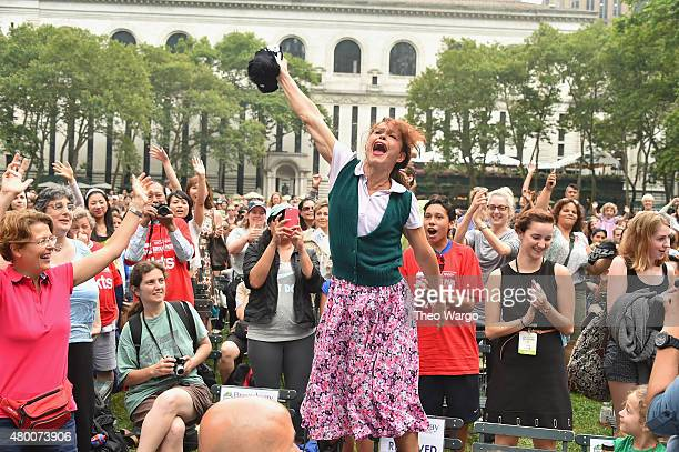 Holly Heiser of Fuerza Bruta performs at 1067 Lite FM's Broadway In Bryant Park 2015 at Bryant Park on July 9 2015 in New York City