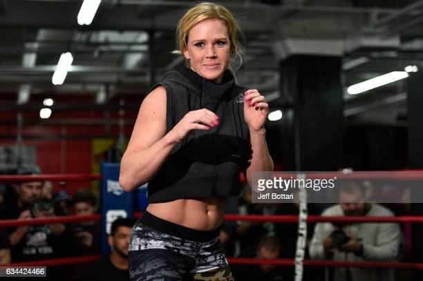 Holly Holm holds an open workout for fans and media at Gleason's Gym on February 9 2017 in Brooklyn New York
