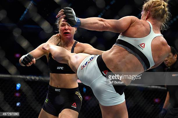Holly Holm kicks Ronda Rousey in their UFC women's bantamweight championship bout during the UFC 193 event at Etihad Stadium on November 15 2015 in...