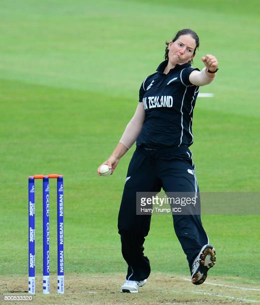 Holly Huddleston of New Zealand bowls during the ICC Women's World Cup 2017 match between New Zealand and Sri Lanka at the Brightside Ground on June...