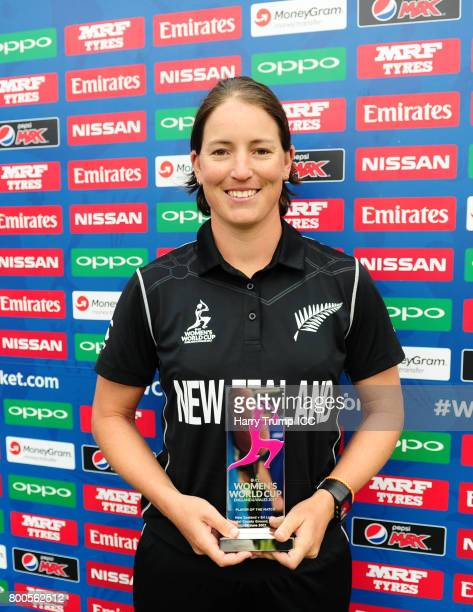 Holly Huddleston of New Zealand poses with the player of the match award during the ICC Women's World Cup 2017 match between New Zealand and Sri...