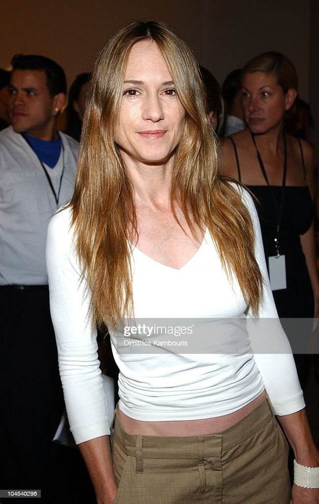 <a gi-track='captionPersonalityLinkClicked' href=/galleries/search?phrase=Holly+Hunter&family=editorial&specificpeople=201880 ng-click='$event.stopPropagation()'>Holly Hunter</a> during Mercedes-Benz Fashion Week Spring Collections 2003 - Vera Wang - Front Row at Bryant Park in New York City, New York, United States.