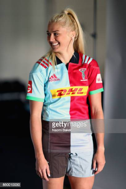 Holly JayneMyers poses for a portrait during the Harlequins Ladies Squad Photo call for the 2017/18 Tyrrells Premier 15s Season at Surrey Sports Park...