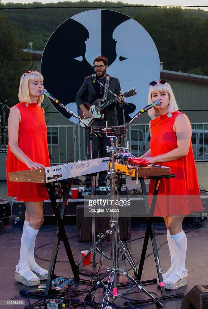 Holly Laessig and Jess Wolfe of Lucius performs during the 2014 Green River Festival at Greenfield Community College on July 12 2014 in Greenfield...