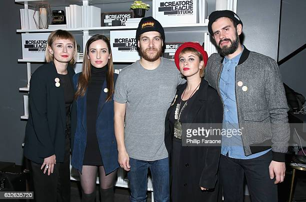 Holly Laessig Zoe ListerJones Adam Pally Jess Wolfe and Dan Molad attend the 2017 Sundance Film Festival premiere of BandAid hosted at PepsiCos...